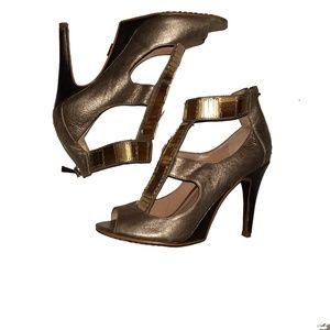 RACHEL ROY Metallic Stylized Aztec Cage Heels 5.5